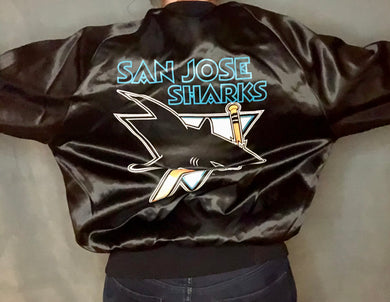 Vintage 1992 San Jose Sharks Double-Sided Locker Line Satin Bomber - L