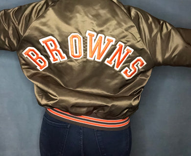 Vintage Cleveland Browns Satin Bomber Jacket SPELL OUT - XL