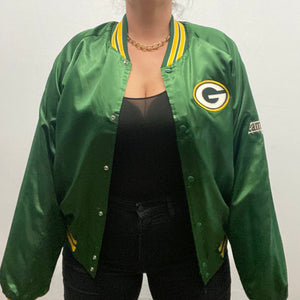 Vintage 1980s Green Bay GB Packers Chalk Line Satin Bomber Jacket SPELL OUT - XXL / 2XL