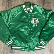 Load image into Gallery viewer, Vintage 1980s Boston Celtics Chalk Line Satin Bomber Jacket SPELL OUT - L