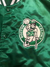 Load image into Gallery viewer, Vintage 80s Boston Celtics Satin Bomber STARTER JACKET SPELL OUT - Size XL