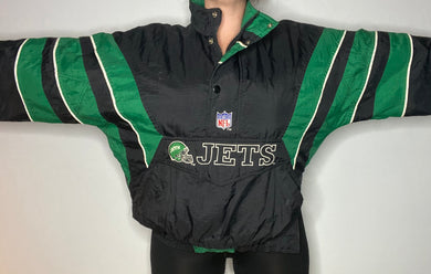 Vintage New York NY Jets Old Logo 1/4 Zip Pullover Puffer Anorak STARTER JACKET - L