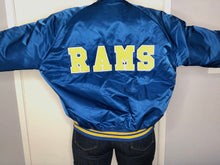 Load image into Gallery viewer, Los Angeles Rams Chalk Line Satin Bomber - XL - Rad Max Vintage