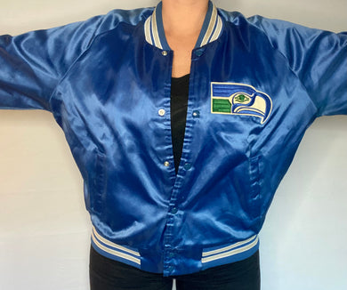 Vintage Seattle Seahawks Chalk Line Satin Bomber Jacket - L