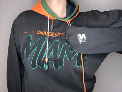 Vintage 1990s University of Miami Hurricanes Hoodie Sweatshirt from Starter - L /XL
