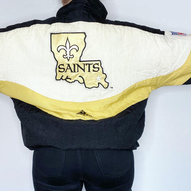Vintage 1990s New Orleans Saints Full Zip Puffer Jacket from Apex One - L/XL