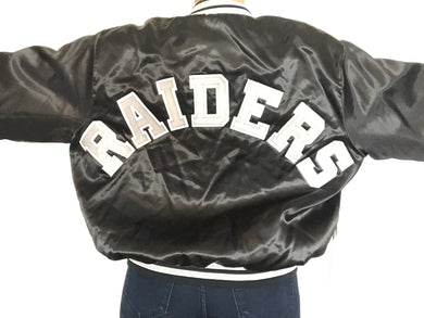 Vintage Raiders Double-Sided Locker Line Satin Bomber SPELL OUT - XL