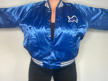 Load image into Gallery viewer, Vintage 1980s Detroit Lions Chalk Line Satin Bomber Jacket with Lion Logo  - L