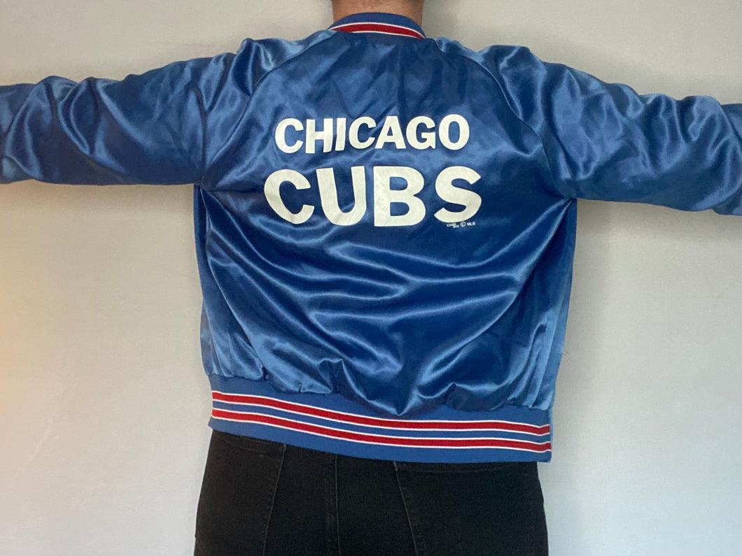 Vintage 1989 Chicago Cubs Chalk Line Satin Bomber Jacket SPELL OUT - Youth XL / Adult XS