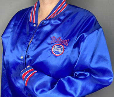 Vintage Detroit Pistons Swingster Satin Bomber Jacket - XL