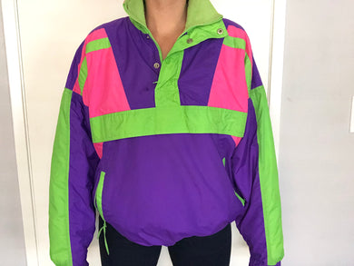 Vintage Neon Hot Music Ski Jacket Pullover - M/L