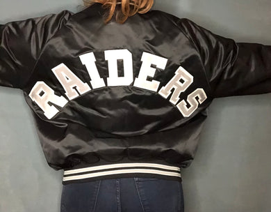 Vintage Raiders Chalk Line Satin Bomber Jacket SPELL OUT - L