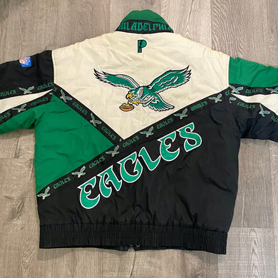 Vintage Philadelphia Eagles Old Logo Full Zip Puffer Jacket from Pro Player - L/XL