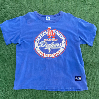 Vintage 1988 Los Angeles LA Dodgers Western Division Champs TSHIRT from Starter - L