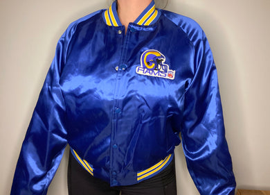 Vintage Los Angeles LA Rams Chalk Line Satin Bomber Jacket - L