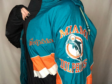 Vintage Miami Dolphins Old Logo STARTER Jacket Puffer - XL