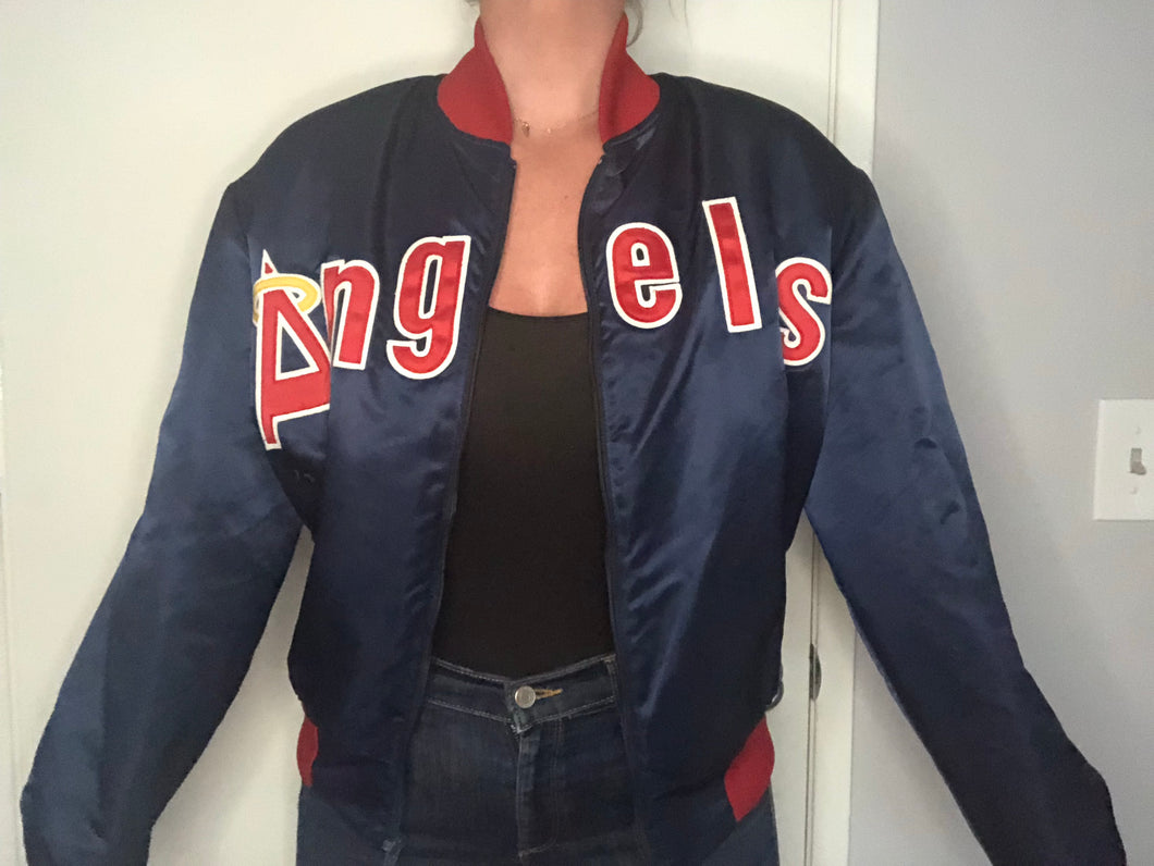 Vintage Anaheim Angels Double-Sided Satin Bomber SPELL OUT - M