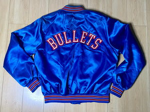 Vintage 1980s Washington Bullets Locker Line Satin Bomber Jacket SPELL OUT - L