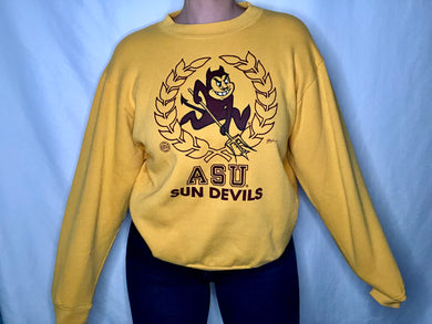 Vintage 1980s Arizona State University Sun Devils Crew with Signatures - M