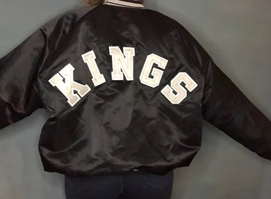 Vintage Los Angeles Kings Satin Bomber Jacket SPELL OUT - XXL