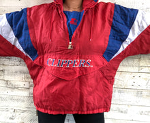 Load image into Gallery viewer, Vintage 90s Los Angeles LA Clippers STARTER JACKET Pullover 1/4 Zip Puffer - XL