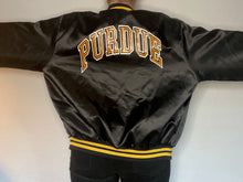 Load image into Gallery viewer, Vintage Late 80s-early 90s Purdue University Boilermakers Locker Line Satin Bomber Jacket SPELL OUT - XL