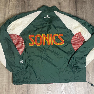 Vintage 1990s Seattle SuperSonics Old Logo 1/4 Zip Pullover Windbreaker Jacket from Champion - XL