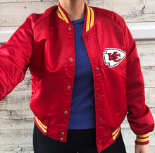 Load image into Gallery viewer, Vintage Kansas City KC Chiefs Chalk Line Satin Bomber Jacket - S