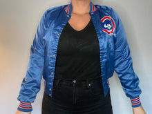 Load image into Gallery viewer, Vintage 1989 Chicago Cubs Chalk Line Satin Bomber Jacket SPELL OUT - Youth XL / Adult XS