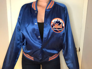 Vintage New York Mets Chalk Line Satin Bomber Jacket - Large