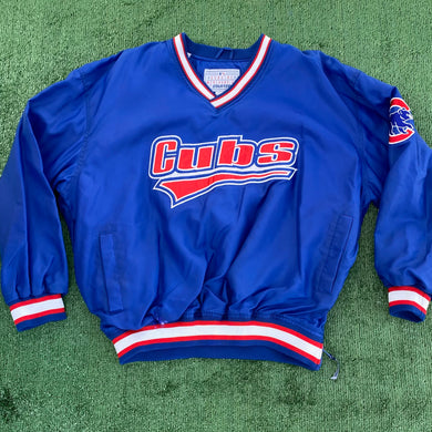 Vintage Late 90s-early 00s Chicago Cubs Warmup Pullover STARTER JACKET - L/XL