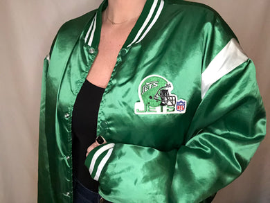 Vintage New York Jets Old Logo Satin Bomber Jacket - L