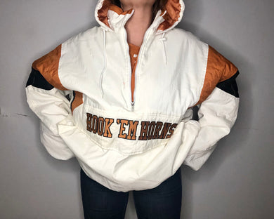 Vintage 90s UT University of Texas Long Horns STARTER Jacket Puffer Pullover - XXL