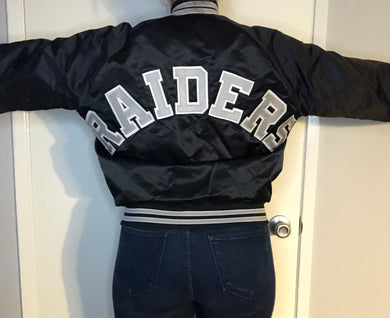 Vintage Raiders SPELLOUT Satin Bomber Jacket from Chalk Line - Medium