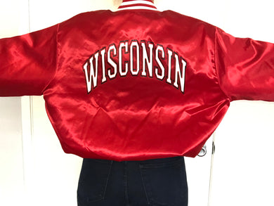 Vintage University of Wisconsin Badgers Double-Sided Locker Line Satin Bomber SPELL OUT - XL