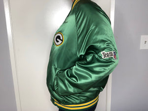 Green Bay Packers Chalk Line Satin Bomber - L - Rad Max Vintage