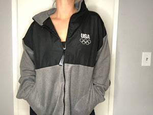 USA Olympics Zip Up Fleece - L - Rad Max Vintage