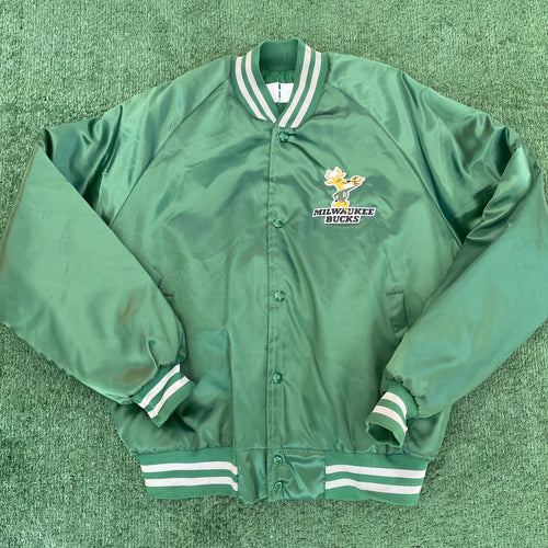 Vintage 1980s Milwaukee Bucks Original Logo Chalk Line Satin Bomber Jacket - L