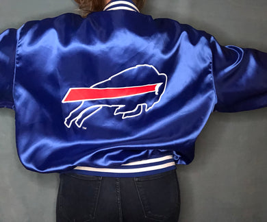 Vintage Buffalo Bills Double-Sided Satin Bomber Jacket - XXL