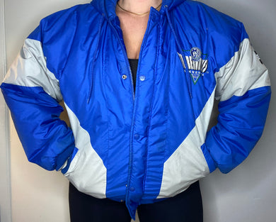Vintage 1990s Minnesota Timberwolves Original Logo Full Zip Puffer Jacket from Logo 7 - M/L