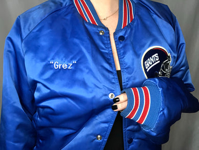 Vintage New York Giants Satin Bomber Jacket SPELL OUT
