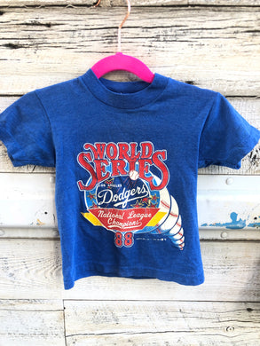 Vintage 1988 Los Angeles Dodgers INFANT/BABY/TODDLER World Series TSHIRT - 9 months - 2T