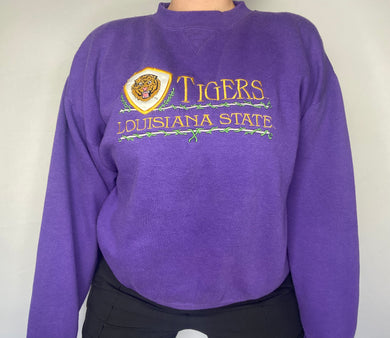 Vintage 1990s Louisiana State University LSU Tigers Embroidered Crew - L/XL