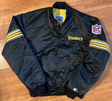 Vintage 80s Pittsburgh Steelers Satin Bomber STARTER JACKET - L
