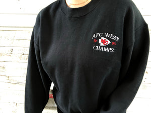 Vintage 1995 Kansas City Chiefs AFC West Champs Crew - L