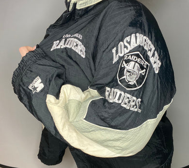 Vintage Los Angeles LA Raiders Full Zip Puffer Anorak STARTER JACKET - L