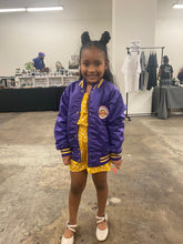 Load image into Gallery viewer, Vintage 1980s Los Angeles LA Lakers Satin Bomber Jacket SPELL OUT - Youth Medium / Adult XS