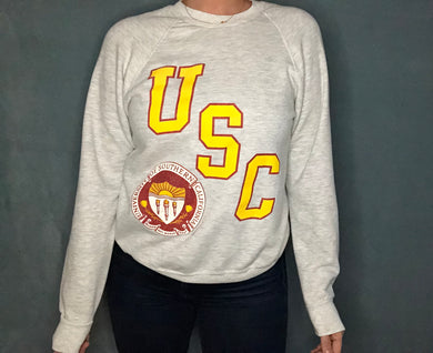 Vintage 1980s University of Southern California USC Trojans Crew - S