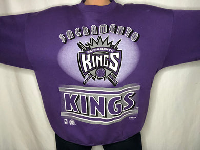 Vintage 1990s Sacramento Kings Old Logo Purple Crew - XL/XXL