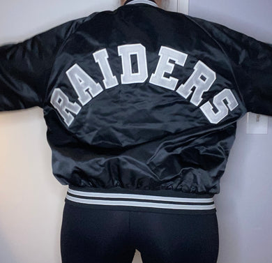 Vintage Los Angeles Raiders Satin Bomber STARTER JACKET SPELL OUT - XL